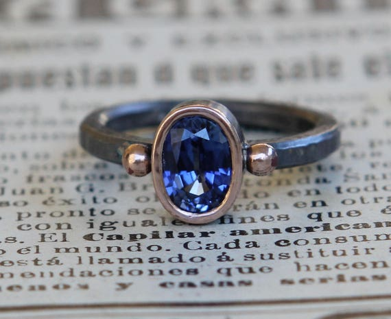 Natural 1.34ct  Blue Sapphire Oxidized Sterling Silver And 14K Rose Gold Ring SZ 7