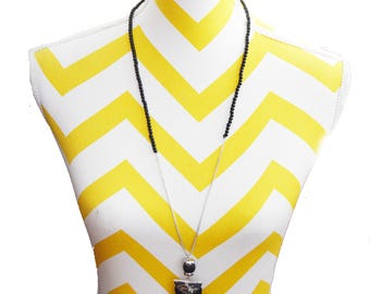 Black TASSEL Necklace,Long Black Silver Tassel Necklace,Modern Minimalist Lariat,Statement Jewelry,Stylish Tassel necklace by Taneesi