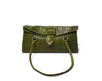 Tooled Green Leather Purse with Pockets by Leaders in Leather