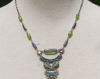 Vintage Handmade Multi Colored Bead And Swarovski Crystal Pendant Choker Necklace By Adaya