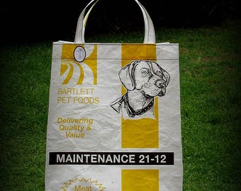 Dog Tote, Dog Bag, Dog Food Tote, White and Yellow, Recycled Feed Bag, Feedsack Tote, Grocery Bag, Feedsack Bag, Feed Sack Tote, Upcycled