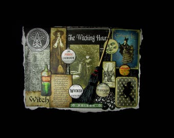 Witch Halloween, Halloween Witch Card, Witch Halloween Card, Collage Card, 150, Halloween Note Card, Black Card, Wicca Greeting Card, Hall