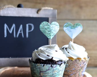 Vintage Map Cupcake Wrappers   Perfect For Your Adventure Themed Wedding, Baby  Shower, Or