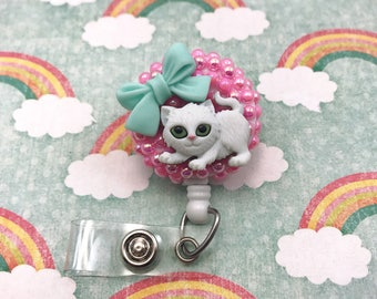 Kitty Kitten Cat Animal Lover Cute Pink Bow Badge Reel Retractable ID Holder Name Tag Nurse CNA RN Technician CPhT Alligator Swivel Clip