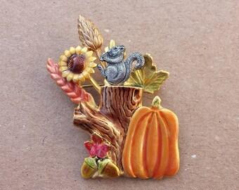 Kerissa Creations Fall Harvest Vintage Brooch, Pumpkin, Sunflower, Wheat Stalks, Leaves, Tree Trunk, Acorns, Squirrel Metal Colorful Pin