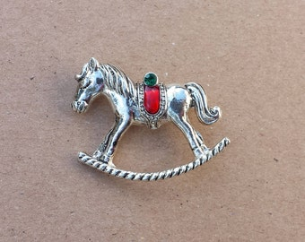 Rocking Horse Silver Tone Red Green Saddle, Holiday Pin Brooch