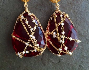 Bombay Nights.  OOAK ( One of a Kind) Ruby Red,  22 kt Gold Plated Freshwater Pearl Earrings.