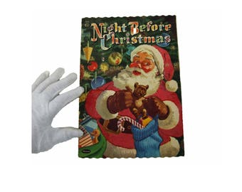 Vintage Night Before Christmas Whitman Publishing Scalloped Edge Fuzzy Flocked Story Book Santa Claus Paperback Paper Book