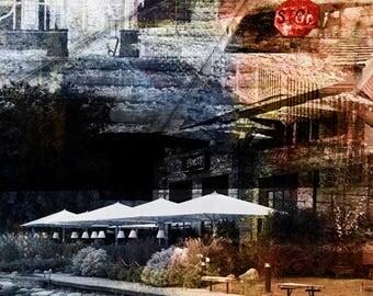 New, Wayzata Collage, digital art photo, wall art, home decor, Wayzata Depot, signs art, beach front, Minnesota photo, lake, resort, boats