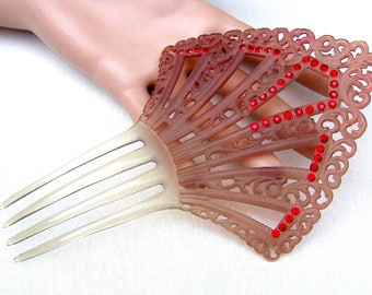 Art Deco red rhinestone celluloid hair comb Spanish style hair accessory hair pin hair pick hair fork decorative comb hair jewelry