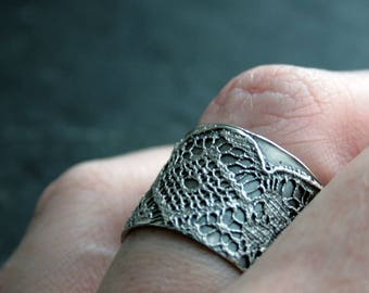 Lacey no 36 -  delicate sterling silver lace ring -  READY TO SHIP in size 8.5 or made to order in your size
