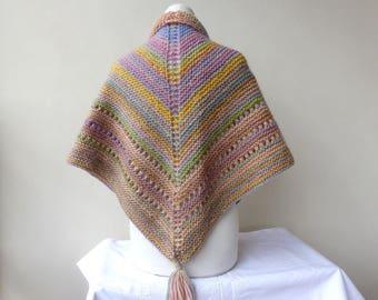 Hand Knit Shawl Triangle Scarf Pastel Wrap