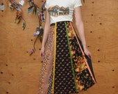 Vintage 70's A-line Skirt With Floral Patchwork Stripes Print On Black Background Size S/M