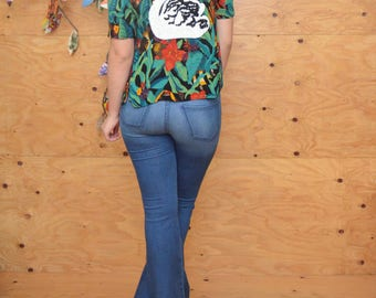 Vintage 80's Tropical Safari Hawaiian Upsycled Blouse In Black & Green Floral Print Unique Sequin Swan Appliqué In Back S/M