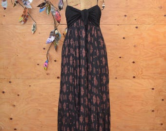 Black & Maroon Summer Maxi Day Dress Boho Floral Pattern Tie Bodice Spaghetti Straps SZ M/L
