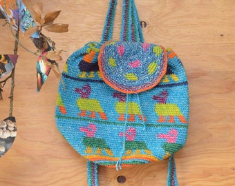 Beautiful Vintage 80's Teal Rainbow Colored Woven Guatemalan Striped Backpack Festival Bag
