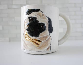 Pug Mug | dog coffee mug tea cup | handmade pottery | pug wearing gold bow tie | classy pug dog mug | in stock