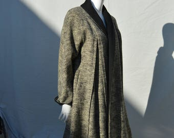 Vintage 50's coat overcoat jacket tweed classic mid century 50's classic wide coat by the house of nine medium