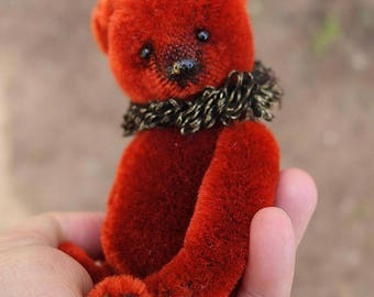 Fiddlededee, Miniature Red Mohair Artist Teddy Bear from Aerlinn Bears