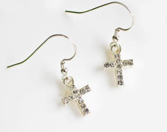 Crystal Cross Earrings - Cross Earrings - Silver Earrings - Silver and Crystal Earrings - Cross Jewelry - Christian Jewelry