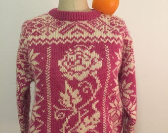 Vintage WOOLRICH SWEATER, PINK, Size M, Pullover Wool Sweater, Roses, Ugly Sweater, 1980's at Modern Logic