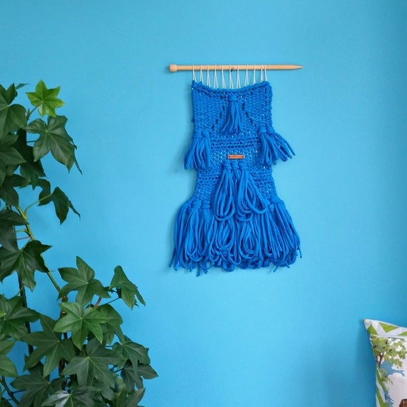 SALE Blue woven wall hanging. T-shirt yarn from Wool and the gang. One colour modern weaving. Interior decor. Cobalt, royal blue