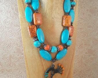 Southwestern Cowgirl Necklace Set - Chunky Turquoise and Orange Howlite - Kokopelli Pendant - Western - Tribal