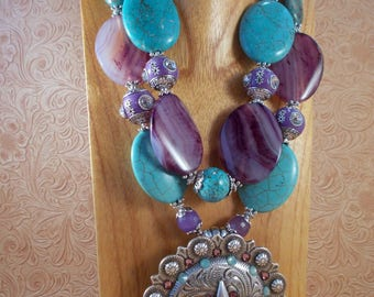 Cowgirl Necklace Set - Chunky Turquoise Howlite - Purple Agate - Huge Star Concho Pendant