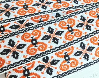 Woven Boho Bohemian Tyrolean Sewing Trim Orange and Black Jacquard on White One Yard