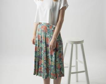 High Waisted Floral Skirt / Pleated Pastel Skirt / Maxi Circle Skirt