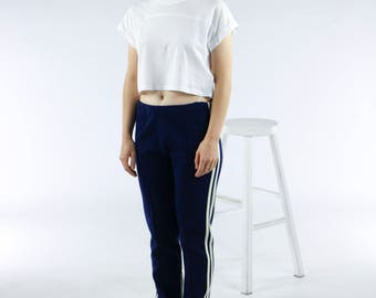 Navy Training Pants / High Waisted Pants / Retro Stripped Leggings