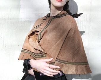 Antique Victorian Civil War Era Cape // 1860s Wool and Silk Brown Cape with Green and Black Striped Trim // 1800s Cape