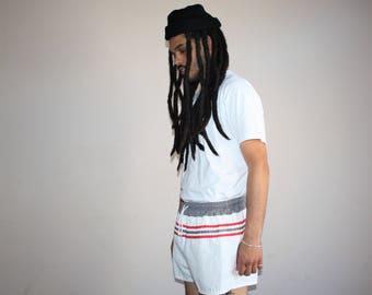 1980s Vintage Nautical Retro Striped Minimalist Swim Trunk Shorts - Vintage Shorts - 90s Clothing - MV0190