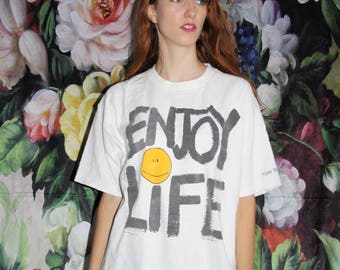 Vintage 1993 Graphic Enjoy Life Emoji Oversized T Shirt - 1990s Vintage Tees - 90s Clothing - WV0391