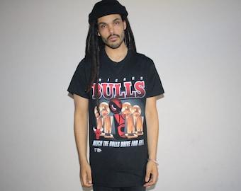 Vintage 1990s Chicago Bulls 5 Time NBA Champions Basketball Long T-Shirt - NBA Champs T Shirt - 90s Clothing - Mv0553