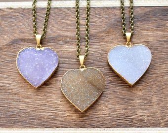 Large Gold Brass Heart Druzy Necklace/ Natural Crystal Quartz Druzy Stone/ Must Have Gift Stylish Fashion Layering Piece (EP-BND14-L)