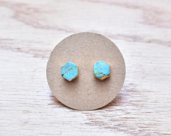 Gold Hexagon Turquoise Stud Earrings/ Gold Stud Post Earrings Natural Bright Blue Turquoise/ Natural Turquoise Blue Gold (GSS21)
