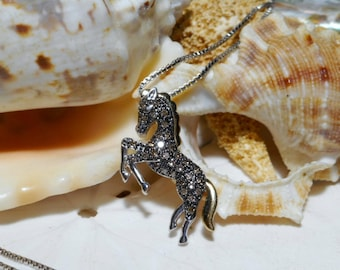 Horse Pendant 14k Gold Sterling Silver and .16ctw Diamond Necklace w 18 inch Box Chain 3.95g