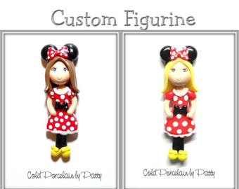 Custom Cold Porcelain Minnie Girl Figurine, Pendant, Ornament, Clay Bow Center, Purse Charm, Magnet, Brooch, Gift /DIY Necklace, Jewelry
