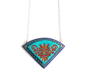 Turquoise Blue and Purple Pendant, Polymer Clay, Silver, Hand Painted Bronze Detail by Supremily Jewellery
