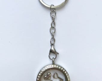 Floating charm locket key chain for maid of honor, stainless steel twist locket with stones, keepsake maid of honor gift, you choose charms