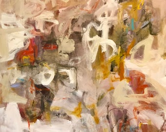 colorful, large abstract expressionist original painting - Dandelion Tea 36 x 48