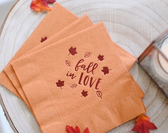 Fall in Love Wedding Napkins, Wedding Favors, Party Napkins, Engagement Party, Wedding Bar Decor, Party Supplies