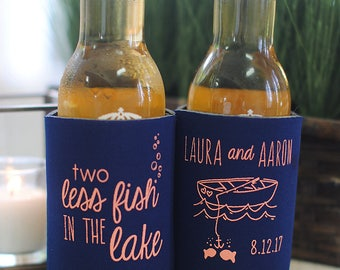 Beach Wedding Favors - 2 Two Less Fish in the LAKE Wedding Can Coolers, Destination Wedding Favors for Guests, Stubby Holders, Summer