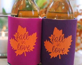 Fall Wedding Favors - Fall in Love Rustic Personalized Can Coolers, DIY Favors for Guests, Destination Wedding Mountain Stubby Holders
