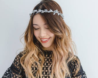 metallic silver flower crown // silver berry leaf flower crown / wedding flower crown / bridesmaid flower crown headband / headpiece