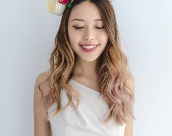 statement flower crown // creamy pink boho spring racing flower crown / spring races flower headband / flower fascinator