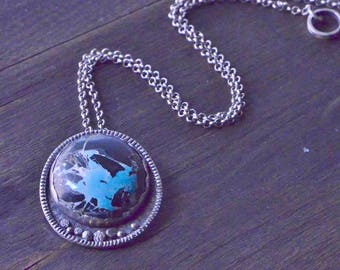 Turquoise Necklace, Boho, Sterling Silver, Blue Moon, Pendant, Silversmith, Handmade, OOAK
