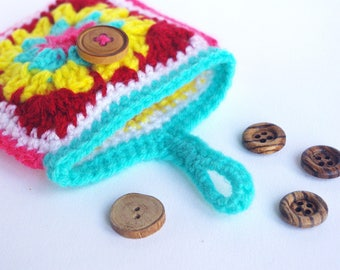 small square wool pouch small mini clutch bag Tote any granny square multicolor Granny squares
