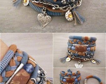 Blue and Brown Bohemian Bracelet, Gypsy Bracelet, Heart Charm Multistrand Bracelet Hippie Style, Boho Bracelets Stack, Boho Jewelry